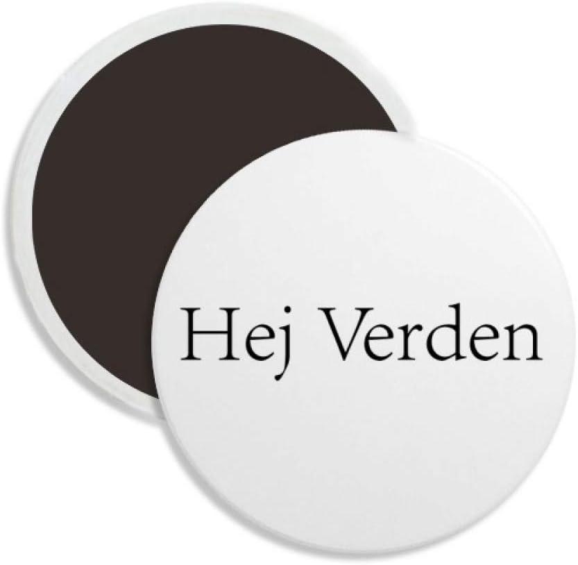 Hello World Danish Round Ceramics Fridge Magnet Keepsake Decoration