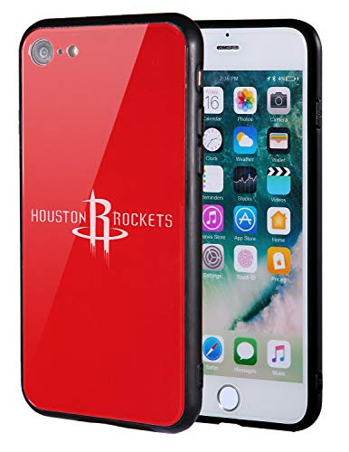 The Mass iPhone 8 case, iPhone 7 case, NBA Team Logo on Tempered Glass Back Cover and Soft TPU Frame for Apple iPhone 8/7 (Houston Rockets, 4.7 inch)