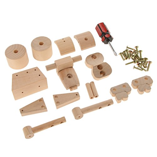 Baoblaze 2 Set Wooden Tanker Truck & Motorcycle Model Assembling Kits Collection Toy Kids Play Fun Education Xmas Gift