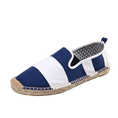 Haodasi Unisex Leisure Low Leinen Segeltuchschuhe Slip-on Schuhe Handgefertigt Hausschuhe Comfy Soft Blau+Weiß