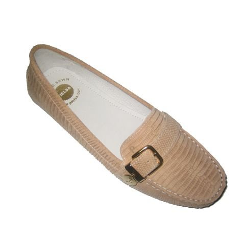 Pielsa 8726 Iguana Make up - Mocasín conductor de piel para mujer color beige: Amazon.es: Zapatos y complementos