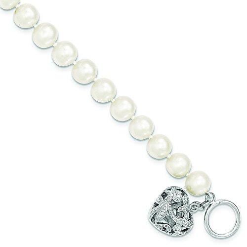 En argent sterling perles de culture blanc 8-9mm FW Heart Toggle Bracelet-20cm