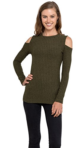 Womens Cold Shoulder Knitted Top - Long Sleeve Pullover Sweater, Velucci (Olive S)