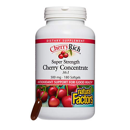 Natural Factors – CherryRich Super Strength Cherry Concentrate, Antioxidant Support for Comfortable Joints and Help Maintaining Healthy Uric Acid Metabolism, 180 Softgels For Sale