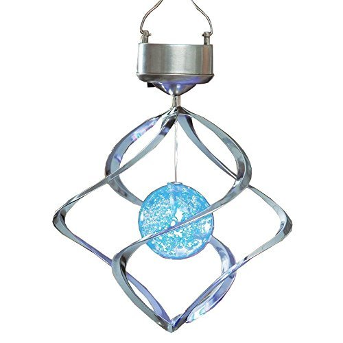 Garden Solar Lights, LU2000 Outdoor Color Changing Crackle Glass Globe Solar Lights Hanging Hook Lantern for Outdoor Path Stairs Courtyard Terrace Garden Park (Solar Wind Turn Light) Review