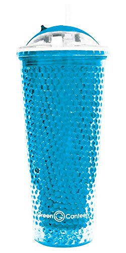 Green Canteen Double Wall AS Plastic Tumbler with Beaded Freeze Gel, 20-Ounce, Blue Canteen Double Wall Tumbler