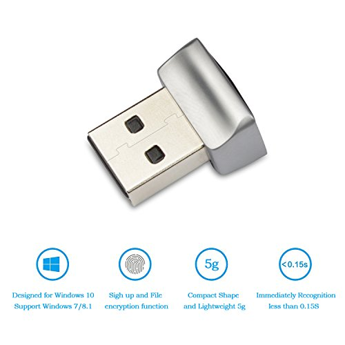 USB Fingerprint Key Reader for Windows 10 Hello - Security Key Biometric Scanner Sensor Dongle Module for Instant Acess, Password-Free Login, Sign-in, Lock, Unlock PC & Laptops (Best Fingerprint Reader For Windows 10)