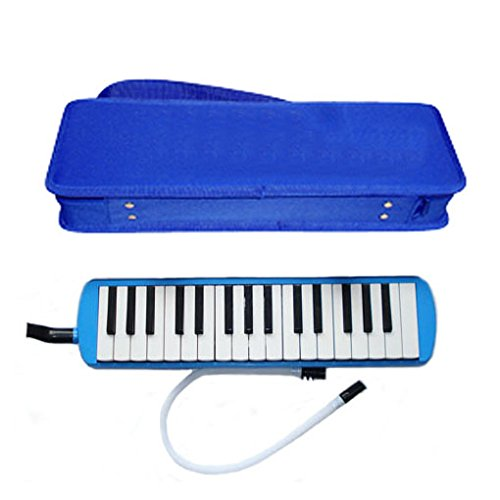 (Deluxe Harris Musical Blue Melodica with Matching Blue Deluxe Case With Free AAA Musical Polishing Cloth)