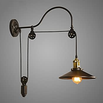 Gooseneck Wall Mount Lamp : Pulley Wall mount with Industrial Cage Light and Wooden Handle - Pendant Light by Industrial ...