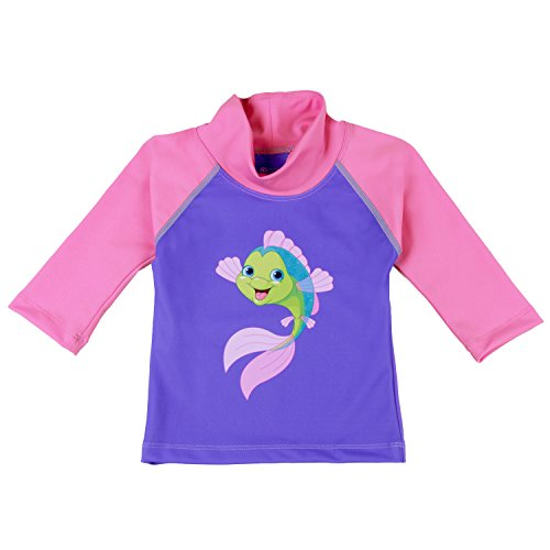3 Arm Tulip - Nozone Baby Swim Shirt - UPF 50+ in Girls, Tulip/Bahama, Fish, 0-6 Months