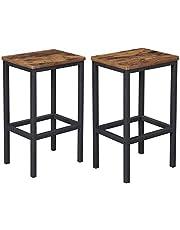 VASAGLE ALINRU Bar Stools, Set of 2 Bar Chairs, Kitchen Breakfast Bar Stools, Brown ULBC65X