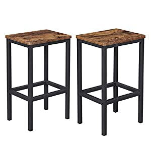 VASAGLE ALINRU Bar Stools, Set of 2 Bar Chairs, Kitchen Breakfast Bar Stools with Footrest, Industrial in Living Room…