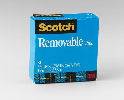 3M 811 Scotch Magic Removable Tape, Matte Finish, 3/4