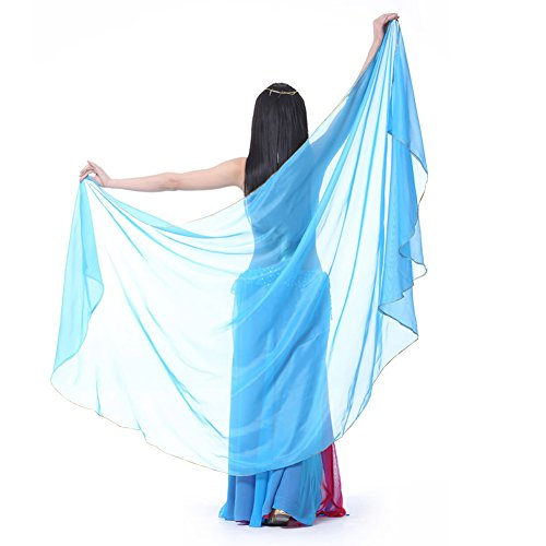 Pilot-Trade Women's Chiffon Big Veil Shawl Gold Trim 47.24 X 94.48 Inch Light Blue