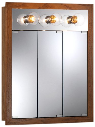 Jensen 755395 24 by 30-Inch by 4-3/4-Inch Granville Lighted Medicine Cabinet with Three Bulbs, Honey Oak