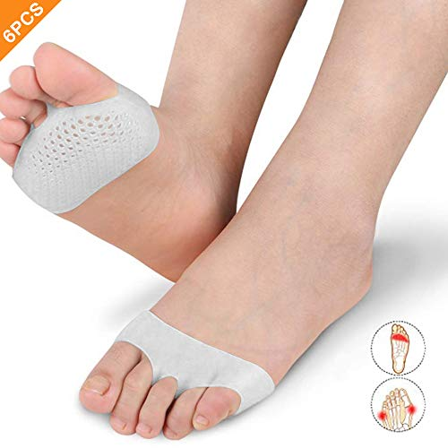Metatarsal Foot Pads,Lhedon 6 PC Women Ball of Foot Cushions Breathable Gel Foot Pads for Diabetic Feet, Blisters, Forefoot Pain Relief (Blister On Ball Of Foot After Walking)