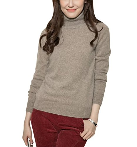 LongMing Women's Long Sleeve Cashmere Sweater (X-Large ,Ginger)
