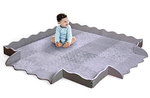 Designer Baby Play Mat with Fence - Thick Playmat Baby Mat with Non-Toxic Safety Soft Foam - Baby Floor Mats Tiles Gym for Infants, Babies, Crawling, Toddlers, Playing Kids Nursery Rug