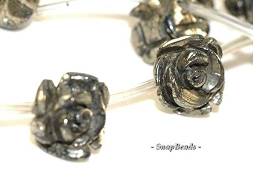 12MM Palazzo Iron Pyrite Gemstone Carved Rose Flower Floral Loose 12MM Beads 7