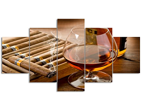 Wine Painting 5 Piece Canvas Art,Modern Whiskey and Cigar on Wooden Background HD Prints Pictures Giclee Artwork Wall Art for Living Room Home Decor Wooden Framed Stretched Ready to Hang(50''Wx24''H)