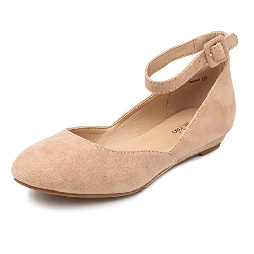 (DREAM PAIRS Women's Revona Nude Suede Low Wedge Ankle Strap Flats Shoes - 8 B(M) US)