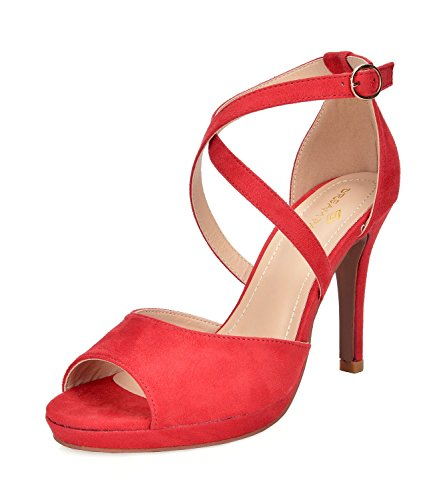 - DREAM PAIRS Women's GAL_10 Red Fashion Stiletos Heeled Sandals Size 9 B(M) US