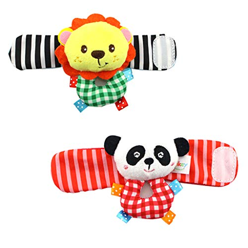 Adorable Baby Wrist Rattle And Foot Finder Socks Toy Set Toy Infant Plush Toys Best Baby Gifts Early Education Toys Soft Animals Toy (B)