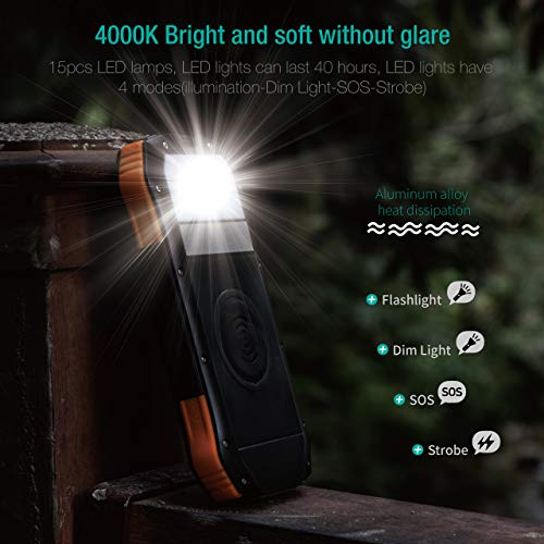 Power Bank, Solar Charger with Qi Wireless Charger and 2 USB Port Ultra Waterproof Soxono Portable Phone Charger 16000mAh External Battery Pack with 15 LEDs Flashlight for iPhone, iPad, Samsung