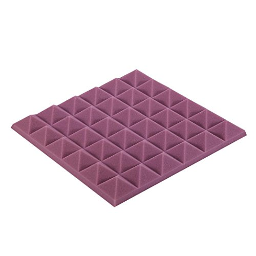 - Hunputa 30cm30cm Acoustic Foam Panel Sound Stop Absorption Sponge Studio KTV Soundproof Wall Pediments Wall Décor Stickers (Purple)