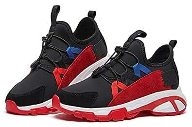 BOYATU Slip On Shoes for Women Elastic Lycra Chunky Shoes Sports Walking Sneakers Black Size 5.5