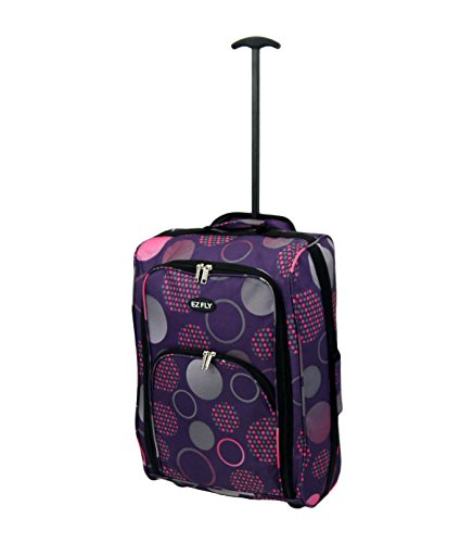 RyanAir Cabin Size Lightweight Hand Luggage Carry On Bag Trolley Suitcase (Purple & Pink Circles)