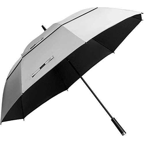 G4Free 62inch UV Protection Golf Umbrella Auto Open Vented Double Canopy Oversize Extra Large Windproof Sun Rain Umbrellas ()
