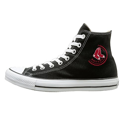 Bibabu Red Sox Cool Unisex Black High-tops Canvas Shoes