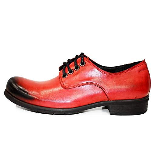 Sera Scarpe a Dendryss da Pelle Allacciare Mano Modello Rosso Handmade Vacchetta Uomo Pelle Verniciata Italiano da in 4n6v8fn