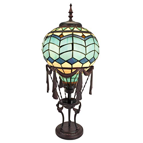 Design Toscano TF10025 Le Flesselles Hot Air Balloon Illuminated Stained Glass Statue Table Lamp Full Color