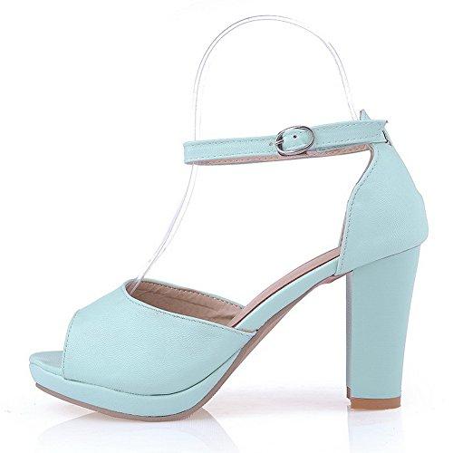 Allhqfashion Womens Zacht Materiaal Gesp Open Teen Hoge Hakken Hakken-sandalen Met Polsband Blauw