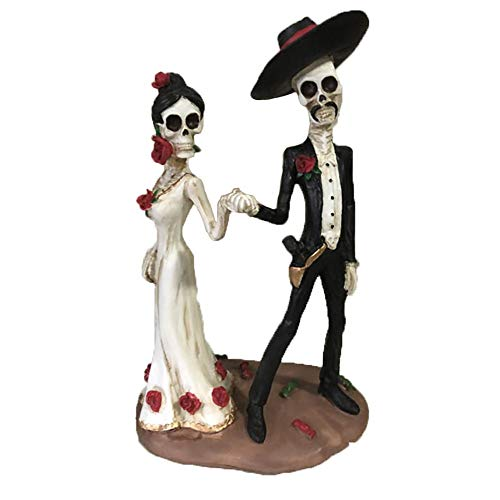 """Honfill Wedding Skeleton Couple Figurine Love Never Die 5.7"""" x 3.6"""" Hand in Hand Dancing Day of The Dead Decorative Valentine Skeleton Decor Lovers Statue"""