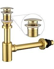 Miraga - Juego completo de tapón para fregadero de baño (1-1/4 ajustable, tubo de latón macizo, con tapón de drenaje, versión sin desbordamiento, color dorado cepillado