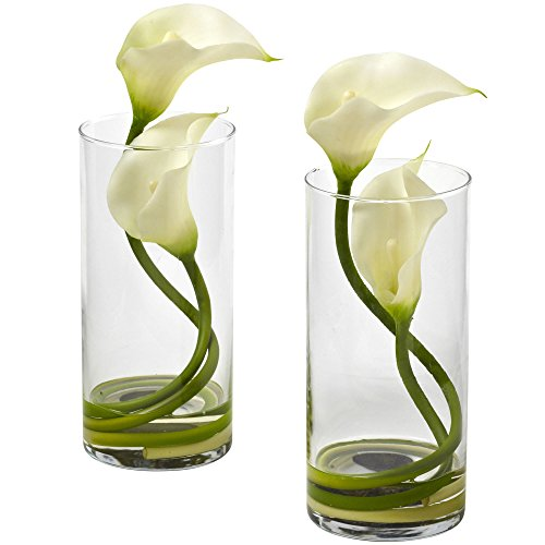 - Nearly Natural 1390-CR-S2 Double Calla Lily with Cylinder, Cream, Set of 2