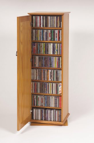 Leslie Dame CDR-500 Mission Door Spinning Multimedia Storage Tower, Dark Oak