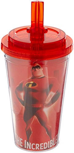 Silver Buffalo IN0384 Disney Pixar Mr. Incredible Plastic Cold Cup with Flip Straw, 16-Ounces