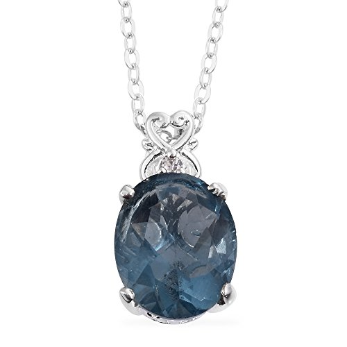 Blue Fluorite, Zircon Sterling Silver Pendant With Stainless Steel Chain 20 in (Fluorite Gemstone Pendant)