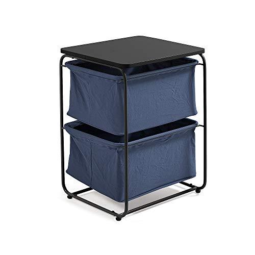 Kave Home - Mesa Auxiliar Specter Negra Rectangular 40 x 62 cm con Estructura de Metal en Negro y 2 estantes de Ropa en Azul