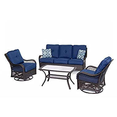 Hanover ORLEANS4PCSW-B-NVY Orleans 4 Piece All-Weather Patio Set, Navy Blue