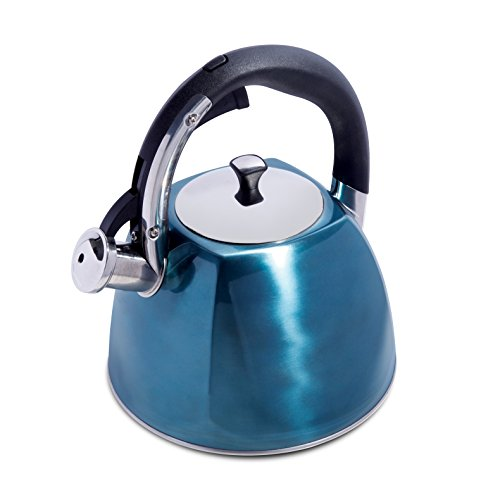 Mr. Coffee Belgrove Stainless Steel Whistling Tea Square Kettle, 2.5-Quart, Metallic Turquoise