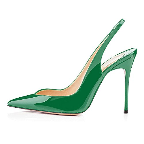 On Heel Slip Ubeauty Ankle Stiletto Court High Pointy Sandals Green Shoes Slingback Women's Basic Toe Strap 88wqUPzE