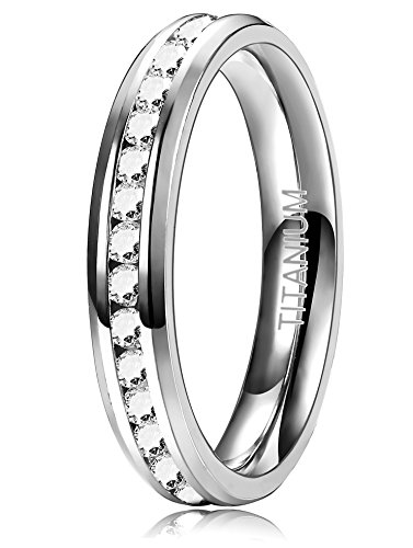 ORAZIO 4MM Womens Titanium Ring Eternity Wedding Engagement Band Ring with CZ, 6