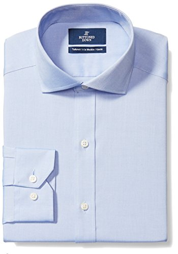 BUTTONED DOWN Men's Tailored Fit Cutaway-Collar Solid Non-Iron Dress Shirt (No Pocket), Blue, 16