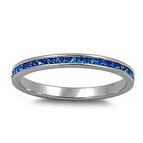 Channel set Simulated Blue Sapphire .925 Sterling Silver Eternity Band Size (Blue Eternity Band)