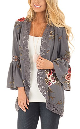Hi Bell Thin - Chunoy Women Fashion Bell Sleeve Tassels Split Kimono Cardigan Loose Cover UPS Grey Medium